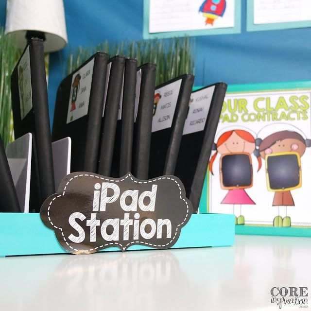 Love how organized this iPad station is. This blog post is filled with tips for classroom management related to iPads.