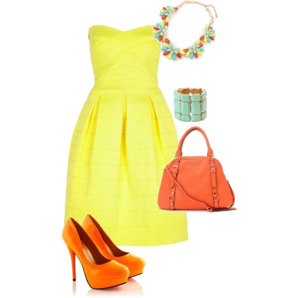 """Yellow river island dress with orange accessories"" by amooshadow on Polyvore"