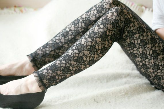 Black lace with flowers leggings by DGstyle on Etsy
