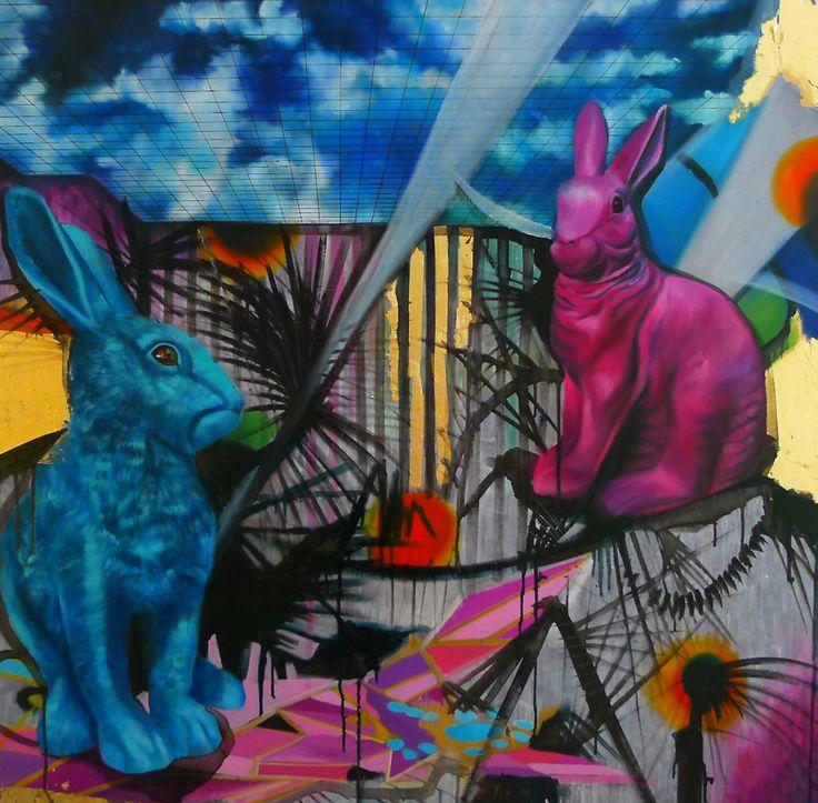 """Le capitalism sombre"", yolk tempera, oil, metallic flakes, mixed media, canvas, 2013"