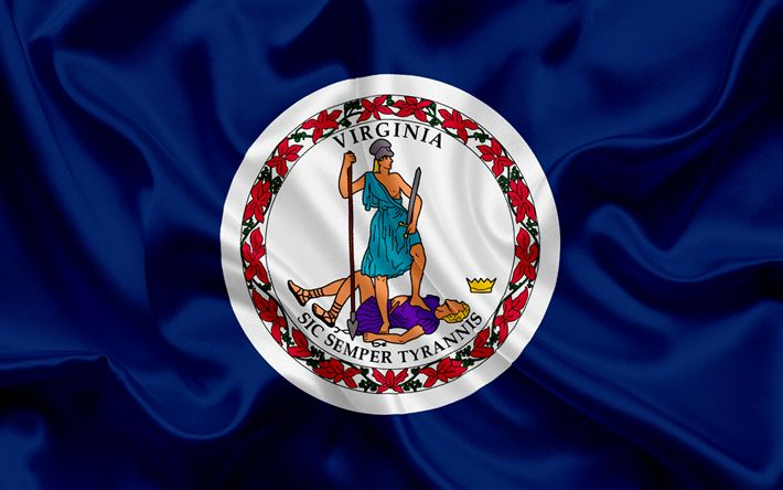 Download wallpapers Virginia flag, Commonwealth of Virginia, flags of States, USA, state Virginia, blue silk, Virginia coat of arms