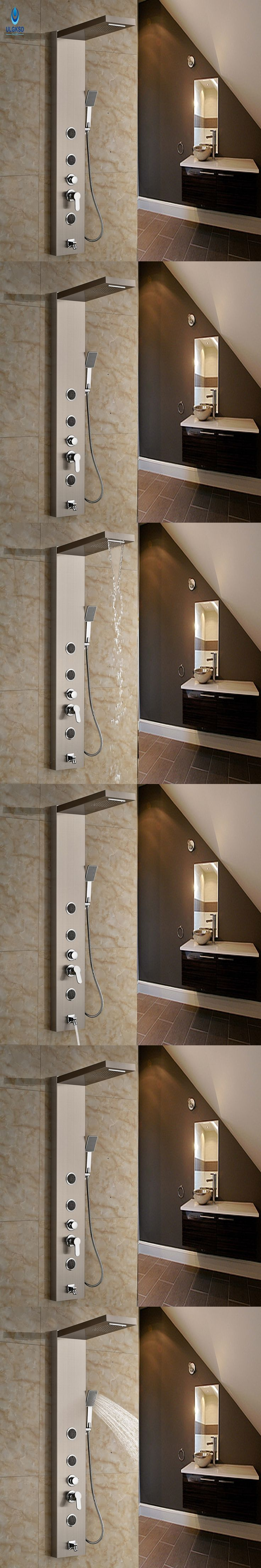Ulgksd Stainless steel  Shower Column & Bathroom Shower Panel Handle  Nickle BrushedTub Spout  W/ Hand Shower Set Massage Jets
