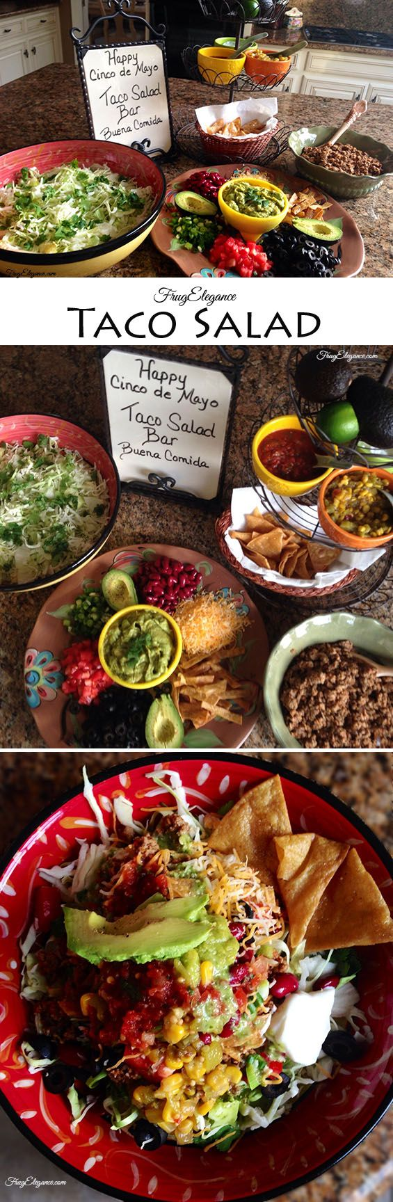 Healthy Taco Salad~make a salad bar for your family with ground turkey and healthy options for a tasty salad. I also enjoy Traders Joes lowfat cilantro dressing #tacosalad #salad