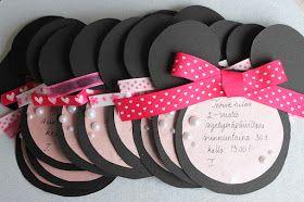 Tällaiset kutsukortit ovat pikku-neidin 2-vuotis syntymäpäiväjuhliin. Teemana on Minni hiiri, joten sen mukaan tein myös kutsut. ;) K...
