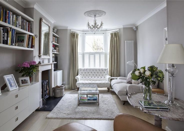 Layout option for sitting room.  With fitted book shelves