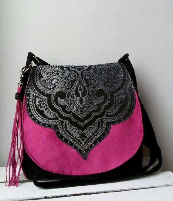 Black and pink oriental bag Evening bag Boho bag Sling crossbody bag Vegan messenger bag Hippie bag Oriental messenger bag Medium size bag