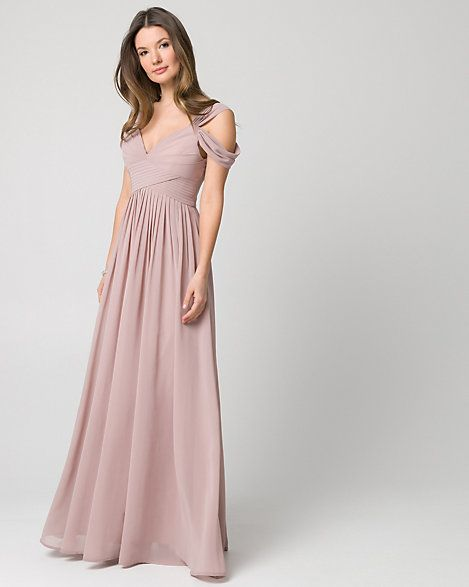 Le Chateau Chiffon Cold Shoulder Gown - Romance is in the air with this chiffon sweetheart gown, featuring playful cold shoulders and pleat details.