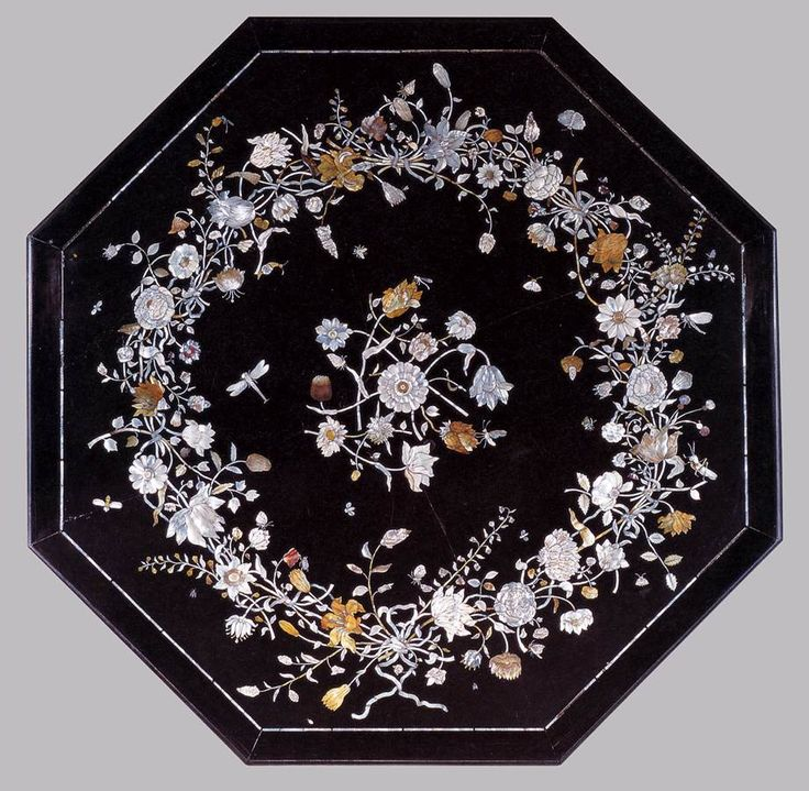 Tabletop 1650s Thouchstone, inlaid with mother-of-pearl, in an ebony border, diameter 138,5 cm Rijksmuseum, Amsterdam