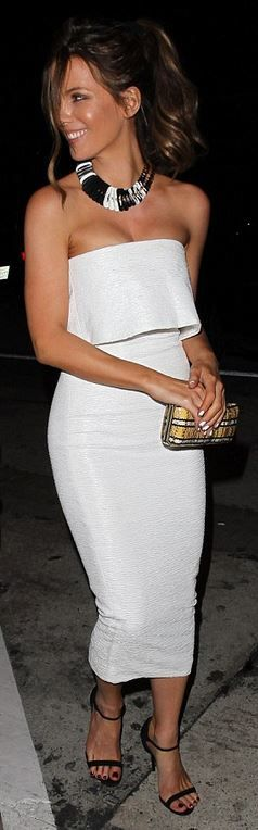 Kate Beckinsale in a Victoria Beckham dress & Sandal heels by Casadei.
