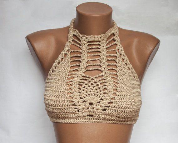 Crochet beige Sexy Bikini Bustier Women Swimwear by LoveKnittings