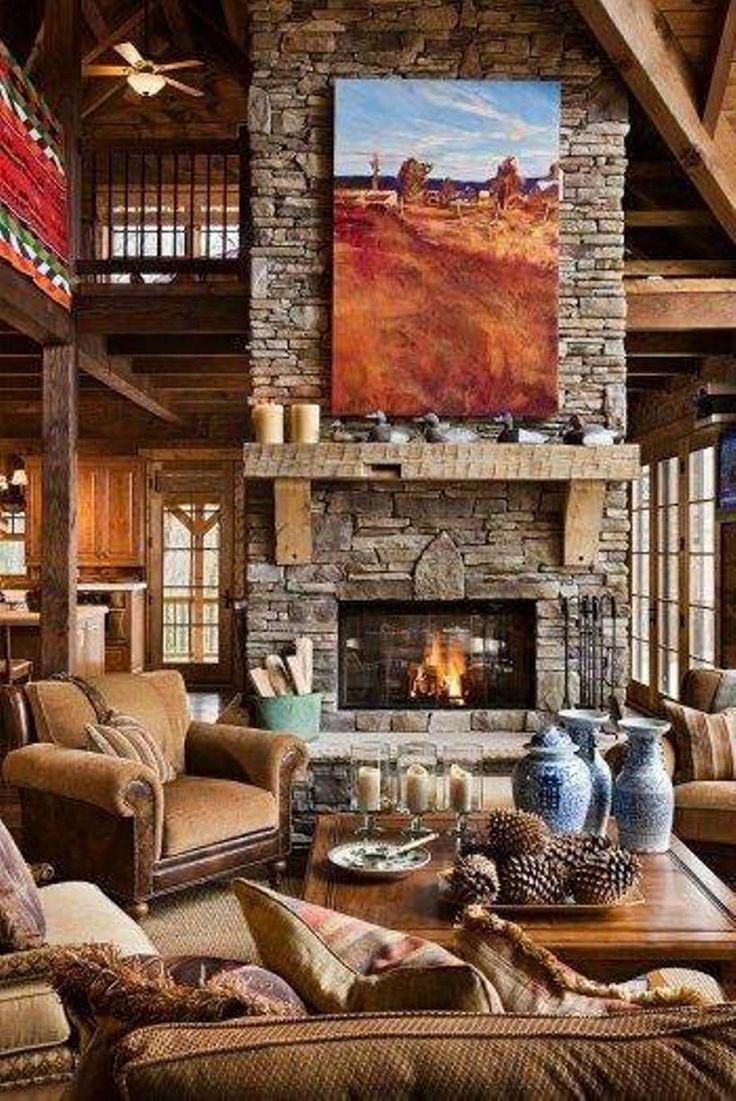 Cabin interior fireplace - Cabin Interior Fireplace