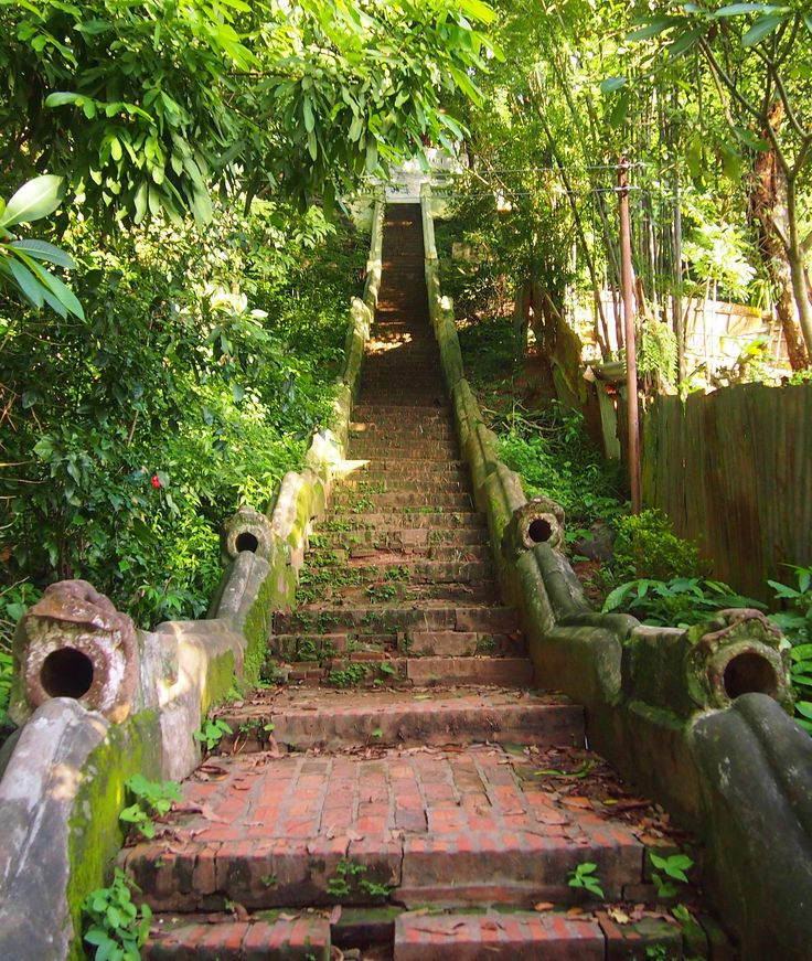 Laos Luang Prabang, steps to the top of the hill. Don't miss this view!