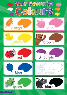 A1 poster printed on 170g paper and laminated.   Excellent quality product.   Ideal for bedrooms, playrooms & classrooms. – Teach your child colours – Fonts for letters are identical to how children are taught to read and write in school. – Illustrations easily recognised by children  http://www.marketdirect.ie/favourite-colours-wallchart