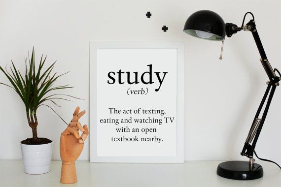 Definition of the verb Study - 50X70 cm & A4 - PRINTABLE - Typography Print - Black and White - Minimalist Design - Home Decor