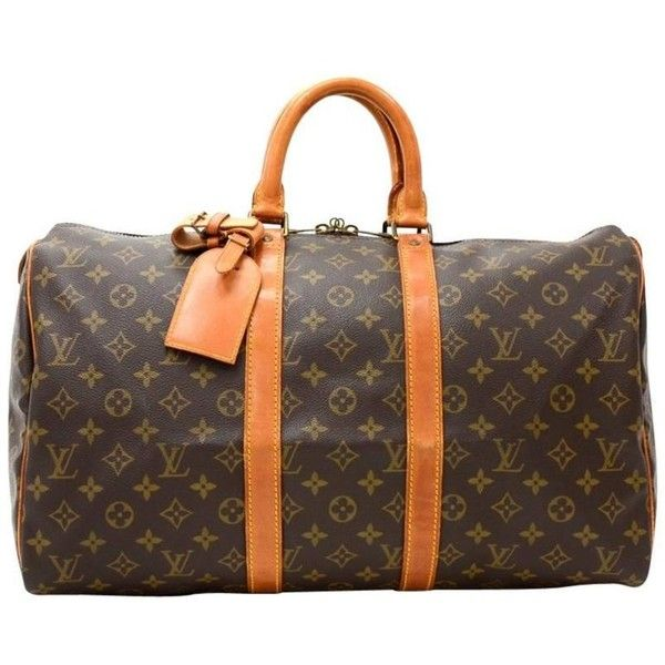 Preowned Louis Vuitton Vintage Keepall 45 Monogram Canvas Duffle... ($540) ❤ liked on Polyvore featuring bags, luggage, black and duffel bags