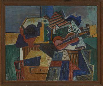 OLAV STRØMME ØRSTA 1909 - OSLO 1978  Komposisjon, 1933 Olje på lerret, 80x100 cm Signert og datert oppe til høyre: Olav Strømme -33