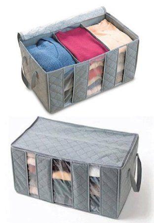 Organizzatore per vestiti in fibra colore grigio per armadio porta abiti salvaspazio cambio stagione MWS: Amazon.it: Casa e cucina