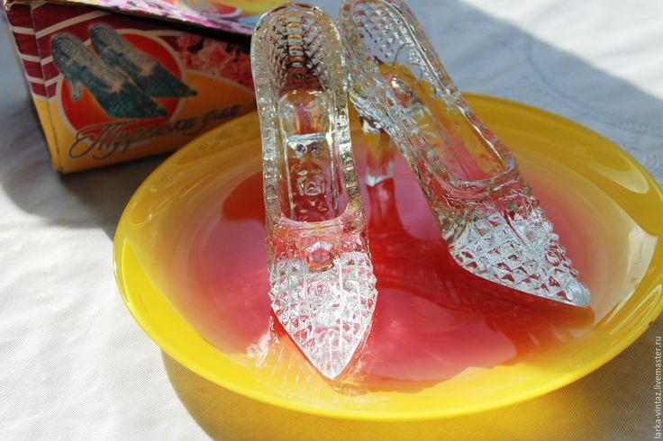 Купить Хрустальные туфельки для Золушки СССР - серебряный, хрусталь, хрустальные туфельки, сувенир хрусталь