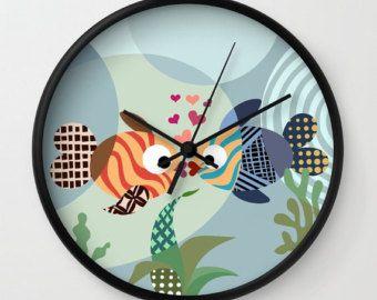 Fish Clock, Love Decor, Love Gift, Valentine Gift, Wall Clock, Blue, Teal, Turquoise, Girls Room Decor