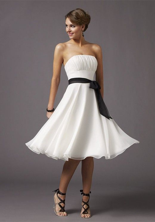 White Bridesmaid Dress for Girls