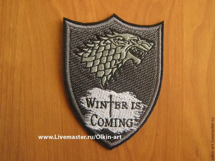 """Купить Нашивка """"WINTER IS COMING"""" - нашивка, нашивки, шеврон, шевроны, патч, патчи, вышивка"""