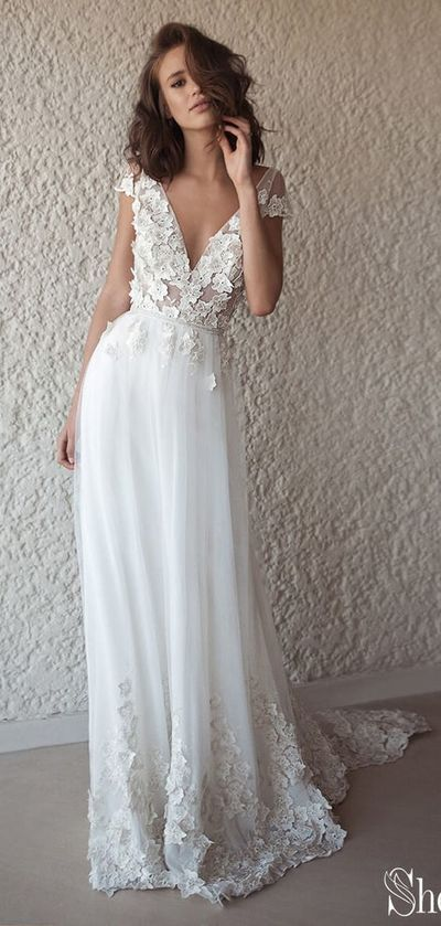 Ivory Cap Sleeve See Through Boho Wedding Dresses Beach Bridal Dress,D0221 from …