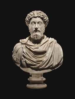 A ROMAN MARBLE PORTRAIT BUST OF THE EMPEROR MARCUS AURELIUS