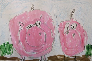 circles-small,medium, large. Pink paint.