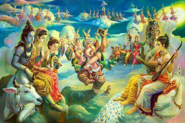 Ganesh entertaining other gods by dancing | Other Indian ...