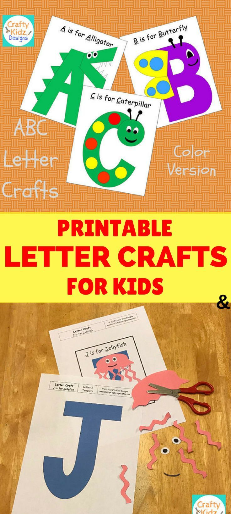 Looking for some simple learning crafts for kids? These printable letter crafts are fun and easy! Perfect for young children to learn and have fun with crafts! #ad | kids craft | craft time | craft kit | printable craft | kid activities | preschool | preschool activities | homeschool | ABC activities | letter activities |