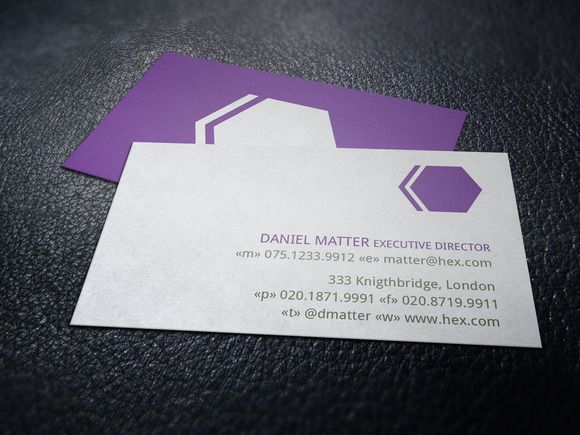 Purple Hex Business Card by Layoutlet on @creativemarket