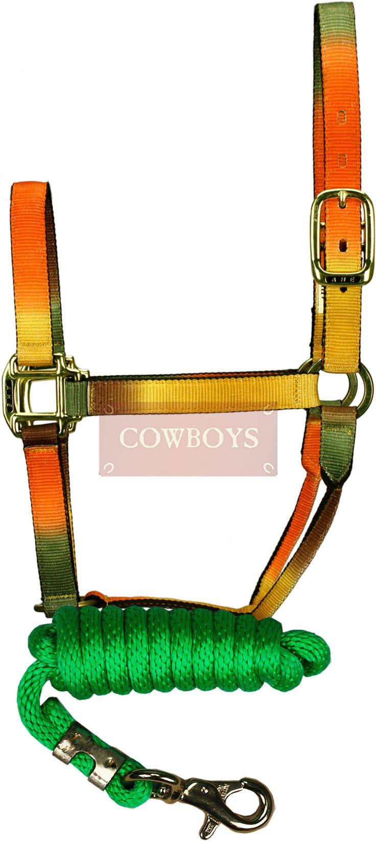 Cabresto para Cavalo Colorido Importado com Cabo Verde e Mosquetão  Conjunto com cabo e cabresto para cavalo feito em nylon colorido. Mosquetão de 10,5cm e argolas. Peça importada de alta qualidade, ideal para melhor apresentação do cavalo.