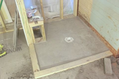 how to DIY a shower pan preslope
