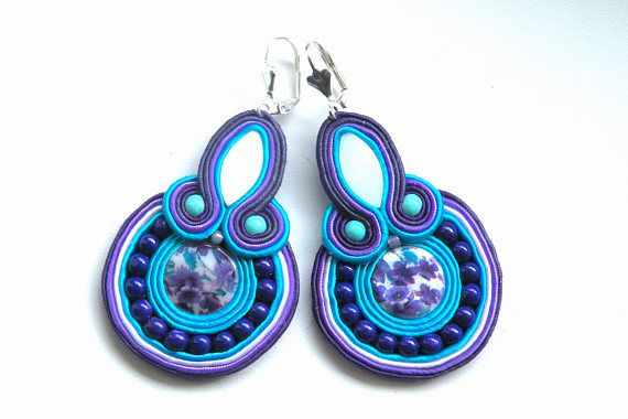 Earrings-Soutache Jewelry-Hand Embroidered Provence