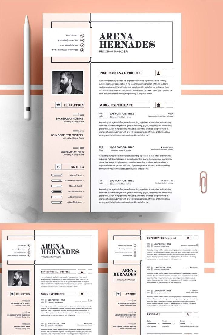 Ats Professional Resume Instant Download Cv Word Cover Etsy Resume Design Creative Resume Design Template Resume Design Professional