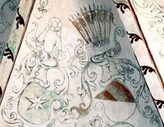 Painting of the Banner's coat of arms in Lerup Church (right).