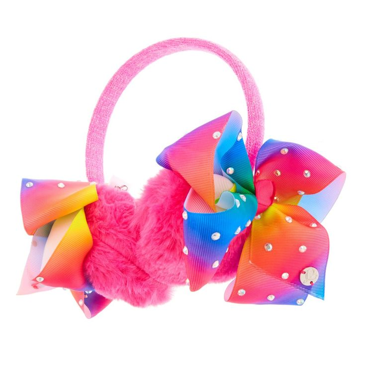 JoJo Siwa Pink Bow Ear Muffs | Your ears will stay nice and toasty this winter with these pink sparkly JoJo Siwa ear muffs! The soft furry ear protectors each have a rainbow-coloured gem encrusted JoJo bow on them. The most stylish winter fashion accessory!