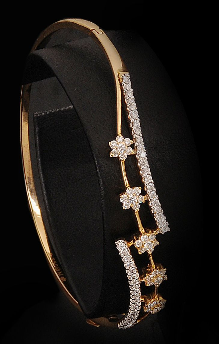 Unique Diamond floral bangle