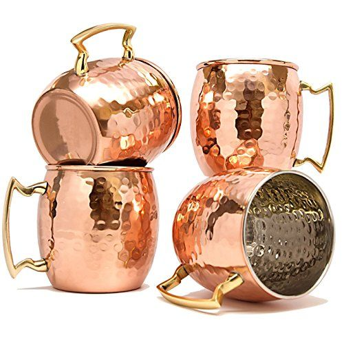 TeraShopee ® Copper Mug for Moscow Mules 560 ML / 18 oz - Set of 4, Inside Nickle Hammered Best Quality - Royal Hub