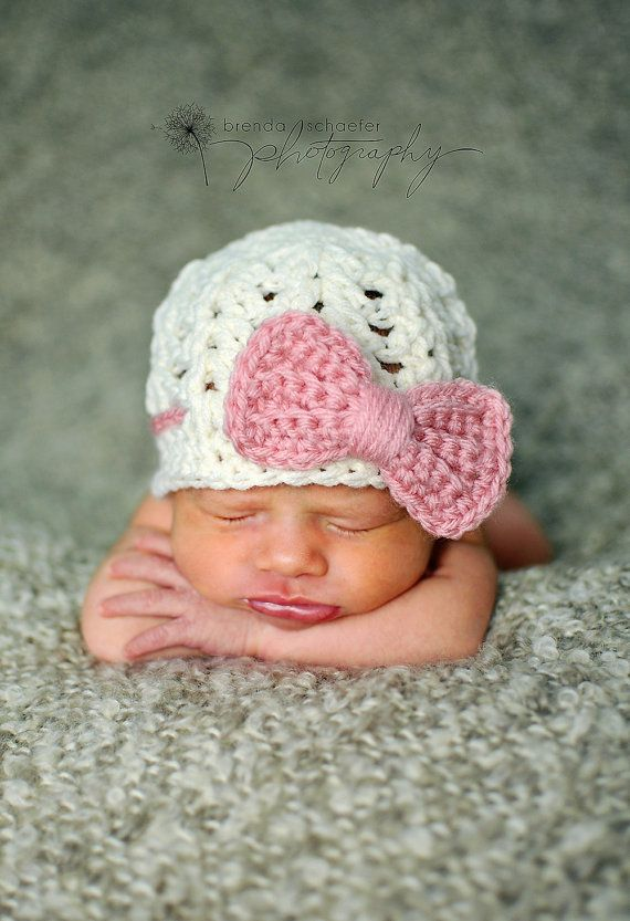 Newborn girl hat baby girl hat cream and pink bow beanie photography prop crochet knit infant girl hat photo prop ecru - MADE TO ORDER