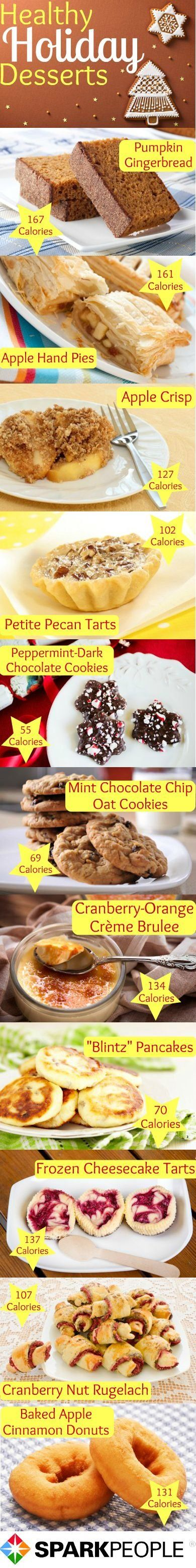 Healthy Holiday Desserts: These recipes are so delicious, no one will know they are healthy! Click for full recipe details!   via @SparkPeople #food #treat #sweet