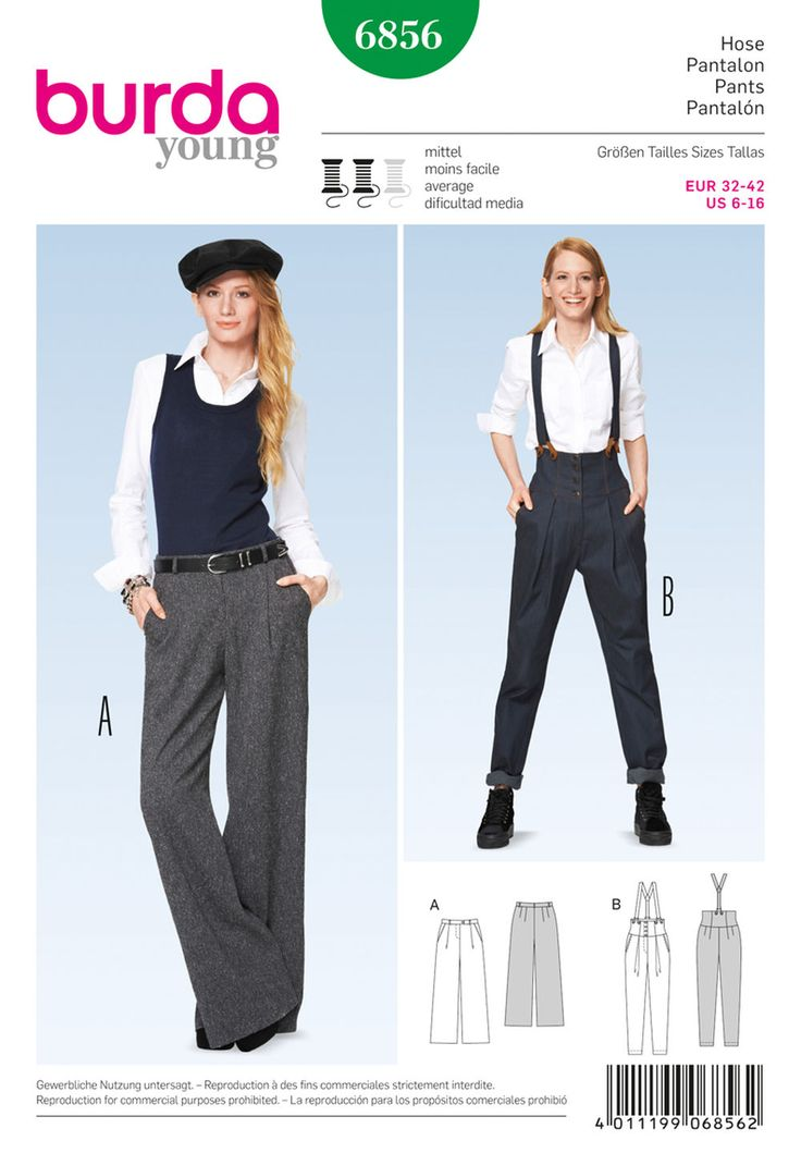pants for an amazing customized look. classy marlene-dietrich-style pants. b with tapered legs, high waist, broad, shaped waistband and button-on braces. both variants with waistband pleats and hip-yoke pockets