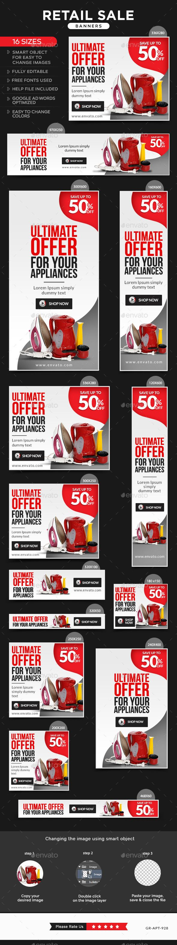 Retail Sale Web Banners Template PSD #design #ads Download: http://graphicriver.net/item/retail-sale-banners/13164052?ref=ksioks