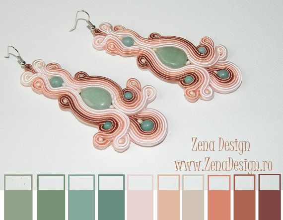 Long earrings with jade and amazonite  cream with by ZenaDesign
