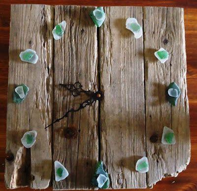 driftwood, seaglass clock...