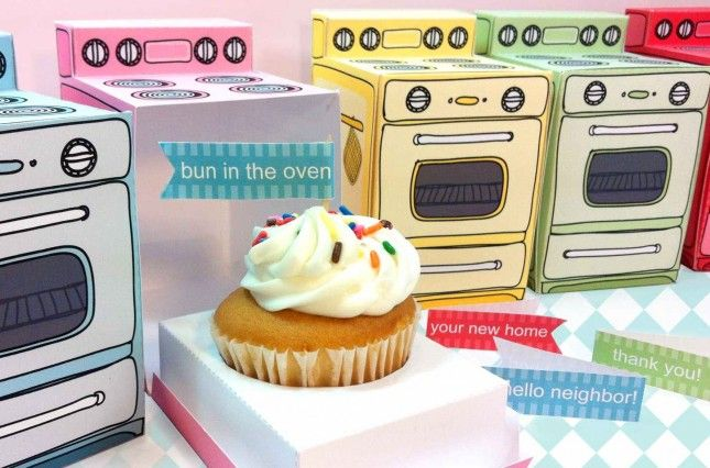 Retro Oven Printable Cupcake Box | 18 Ways to Package Your Cupcakes