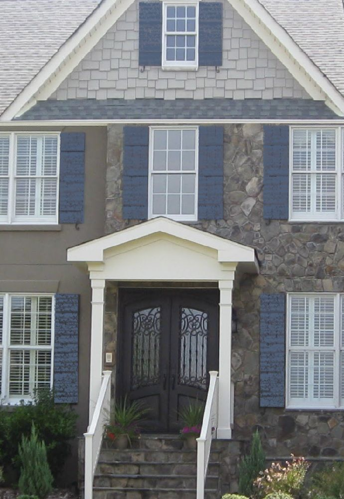 Medium Light Gray White With Slate Blue Shutters
