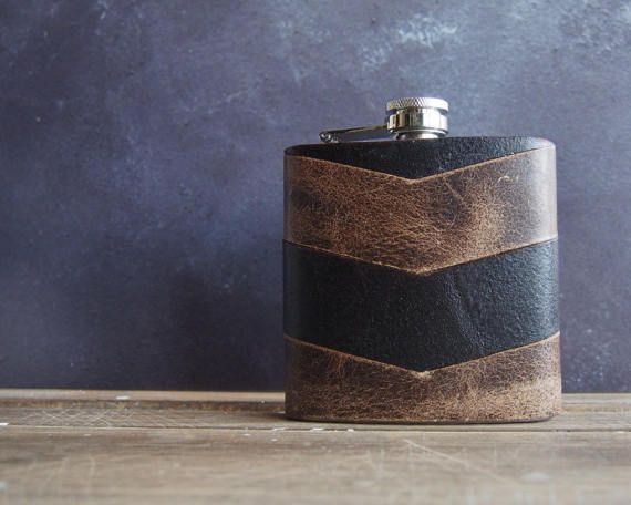 This hip flask is made from hand-cut oak and peat coloured leather pieces, arranged into a unique chevron wrap. This flask can be personalised with your choice of text or Viking runes. ♡ You & Your Hip Flasks ♡ When ordering your hip flasks, simply let us know the initials or text youd like in