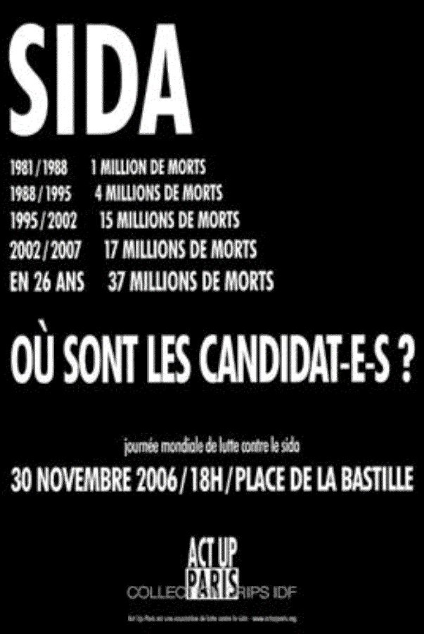 Journée mondiale de lutte contre le sida, 30 novembre 2006. Act Up-Paris, 2006.