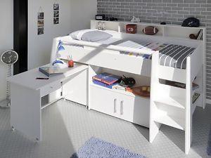 Hochbett, Kinderbett Sway 1A, 211x132x130cm weiß, Kinderzimmer Bett Schreibtisch, 590€